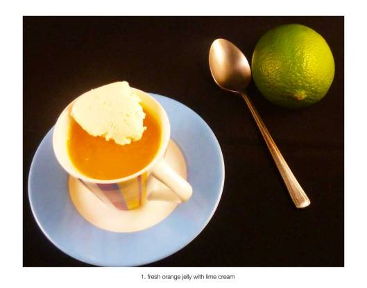 Orange Juice Jelly with Lime Cream